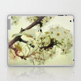 Tufted Titmouse Spring Flower Farmhouse Art Country Home Decor A132 Laptop & iPad Skin