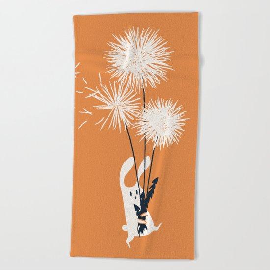 Bunny and Dandelion Bouquet Beach Towel