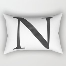 Letter N Initial Monogram Black and White Rectangular Pillow