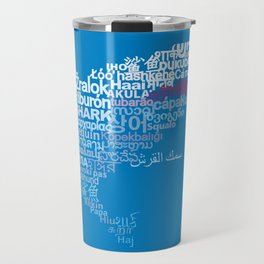 Shark in Different Languages Travel Mug