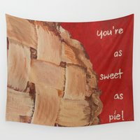 pie Wall Tapestries featuring As Sweet As Pie by Mae2Designs