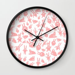 Pink bunnies Wall Clock