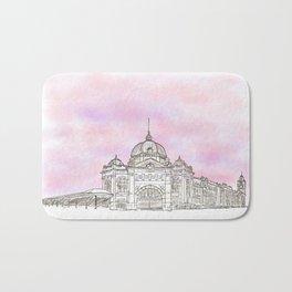 Sketching Flinders Street railway station Melbourne Australia Bath Mat