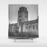 liverpool Shower Curtains featuring Liverpool Cathedral by Abi Booth