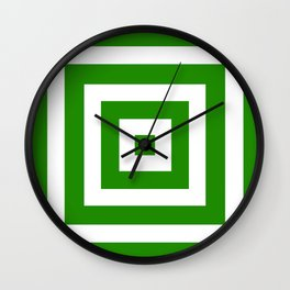 Abstract geometric pattern - green and white. Wall Clock