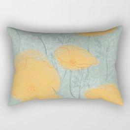 California Poppies in Gray Rectangular Pillow