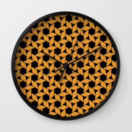 JAVELIN bright orange pinwheels on black background Wall Clock