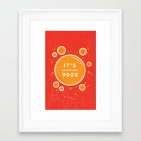 dragonball Framed Art Prints featuring IT'S OVER 9000 (Dragonball) by Jacob Waites