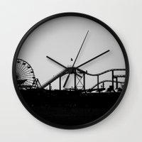 santa monica Wall Clocks featuring Santa Monica Pier by cbrocoff