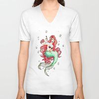 mucha V-neck T-shirts featuring Mucha-esque Mermaid by Beth Aucoin