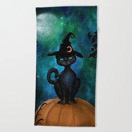 Witch's Familiar on a Pumpkin Beach Towel