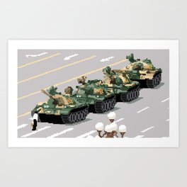 Pixelated Tank Man Art Print