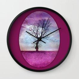 ATMOSPHERIC TREE | Pink Morning Wall Clock