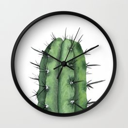 Watercolor Cactus Wall Clock