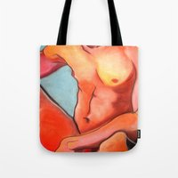 nudes Tote Bags featuring Nudes: Atlas IV by Adam James David Anderson