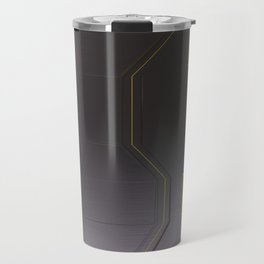 Futuristic technology, brushed metal shapes with glowing lines Travel Mug