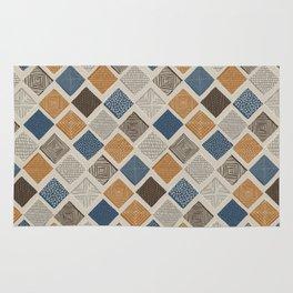 Tuscan Tiles Dark Orange and Gray Rug