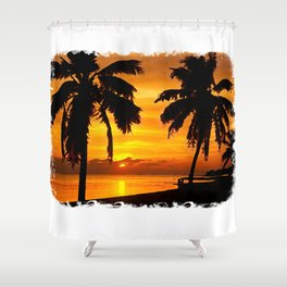 Sunset painting with intricate border Shower Curtain