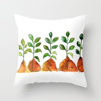 succulents Throw Pillows featuring Succulents by Gosia&Helena