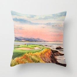 Pebble Beach Golf Course Hole 7 Throw Pillow