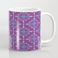 fleur de lis Mugs featuring Fleur de Lis - Purple by Dizana Designs