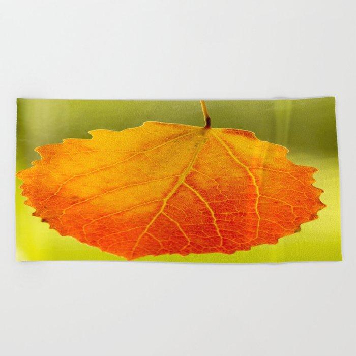 Orange Leaf Beautiful Color #decor #society6 Beach Towel