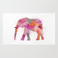 artsy Area & Throw Rugs featuring Artsy Elephant by LebensART