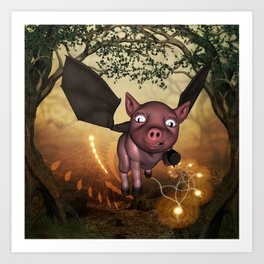 Funny little piglet with wings Art Print