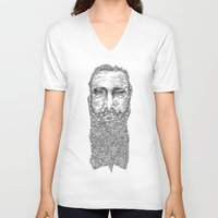 beard V-neck T-shirts featuring Beard by Yassine Mourit