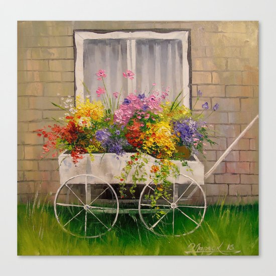 Old wagon with flowers Canvas Print
