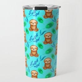 Funny cute sloths, tropical rainforest exotic green blue leaves pattern design. Sloth gift ideas Travel Mug