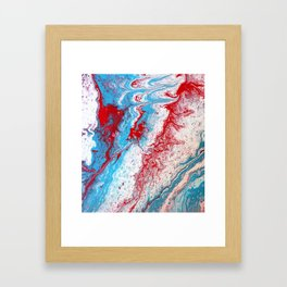 Marble Red Blue Paint Splatter Abstract Painting by Jodilynpaintings Red Framed Art Print