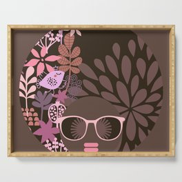 Afro Diva : Sophisticated Lady Pink Taupe Lavender Serving Tray