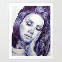 celebrity Art Prints featuring Celebrity portrait by Megan