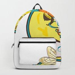 Bee Carrying Honey Pot Circle Drawing Backpack