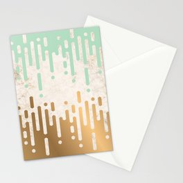Marble and Geometric Diamond Drips, in Gold and Mint Stationery Cards