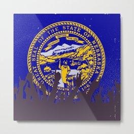 Nebraska State Flag with Audience Metal Print