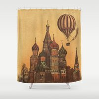 moscow Shower Curtains featuring Moving to Moscow by Terry Fan