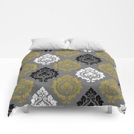 Decorative Damask Pattern BW Gray Gold Comforters