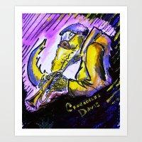 "miles davis Art Prints featuring Crocodiles Davis by Abel Charrow's ""Crocodiles Davis"""