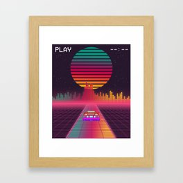 Retro 80s Cyberpunk Synthwave Sunset fast car in Outrun grid design Framed Art Print