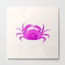 Nautical Pink Crab Linen Metal Print