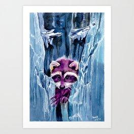 Colorful Racoon Art Print