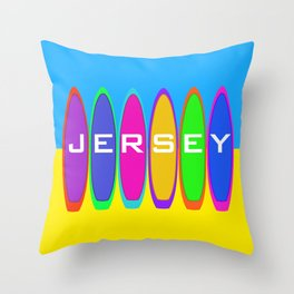 Jersey Surfboards on the Beach Throw Pillow