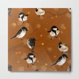 winter fall birds snow flakes gold brown orange earth Metal Print