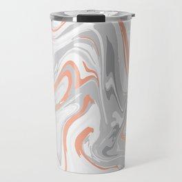 Liquid White Marble and Copper 017 Travel Mug