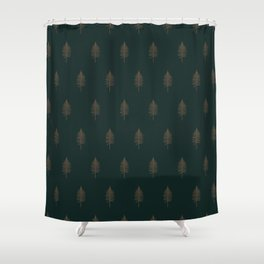 Vintage Fern in Gold and Green Shower Curtain