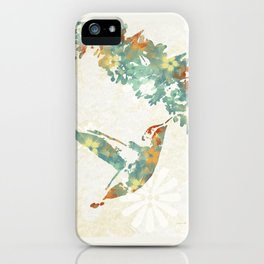 Colorful Teal Hummingbird Art iPhone Case