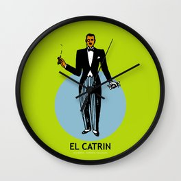 El Catrin Mexican Loteria Card Wall Clock