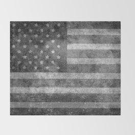 US flag, Old Glory in black & white Throw Blanket